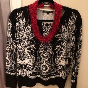 Beautiful Black and Ivory Embellished Sweater.